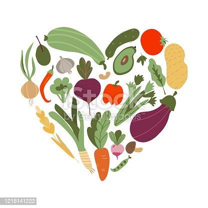 istock vegetable in heart shape. Set of vegetable icons forming heart shape. Vegetarian food icons. Healthy cartoon flat food illustration. hand drawn Vector illustration 1215141222