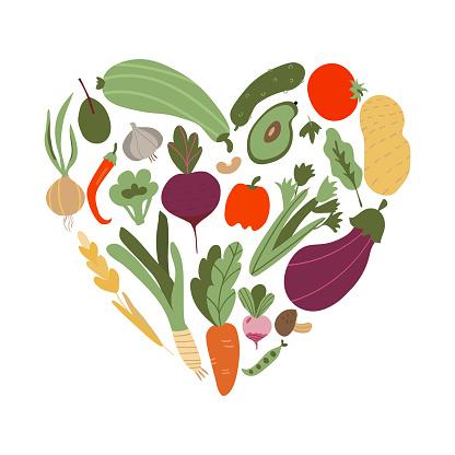 vegetable in heart shape. Set of vegetable icons forming heart shape. Vegetarian food icons. Healthy cartoon flat food illustration. hand drawn Vector illustration