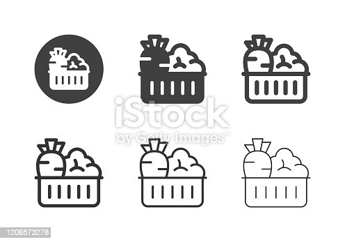 Vegetable in the Basket Icons Multi Series Vector EPS File.