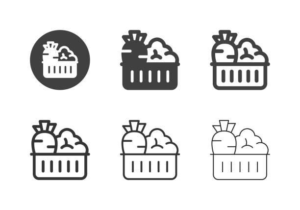 ilustrações, clipart, desenhos animados e ícones de legumes nos ícones da cesta - série multi - fruit salad