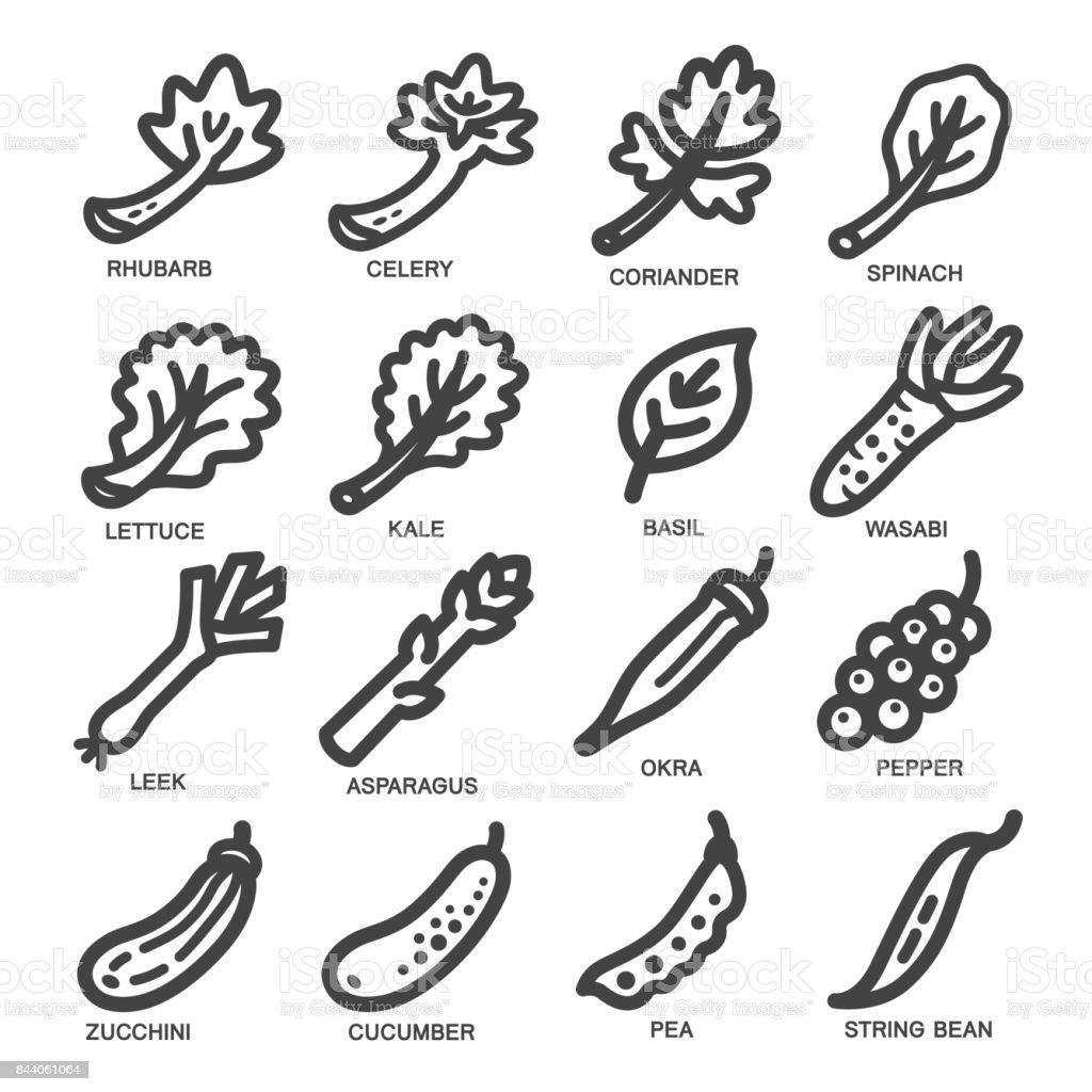 ícone de linha vegetais - ilustração de arte em vetor