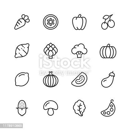 16 Vegetable Outline Icons.