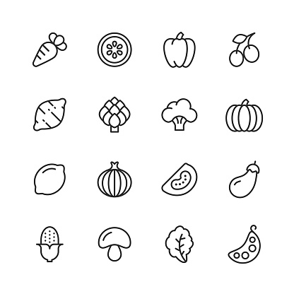 Vegetable Line Icons. Editable Stroke. Pixel Perfect. For Mobile and Web. Contains such icons as Carrot, Lemon, Pepper, Onion, Potato, Tomato, Corn, Spinach, Bean, Mushroom.