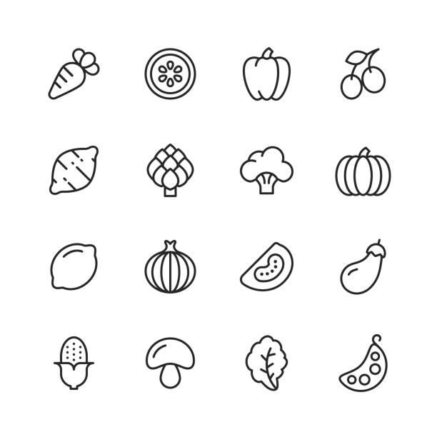 ilustrações de stock, clip art, desenhos animados e ícones de vegetable line icons. editable stroke. pixel perfect. for mobile and web. contains such icons as carrot, lemon, pepper, onion, potato, tomato, corn, spinach, bean, mushroom. - vegetables