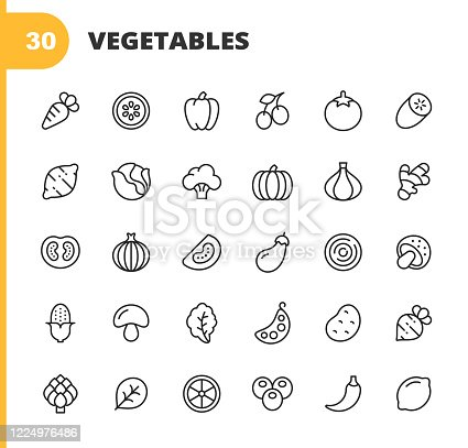 30 Vegetable Outline Icons. Carrot, Lemon, Pepper, Tomato, Cucumber, Potato, Cabbage, Salad, Broccoli, Pumpkin, Onion, Ginger, Zucchini, Mushrooms, Corn, Beans, Peas, Parsley, Arugula, Hot Pepper, Spinach, Radish, Lettuce.