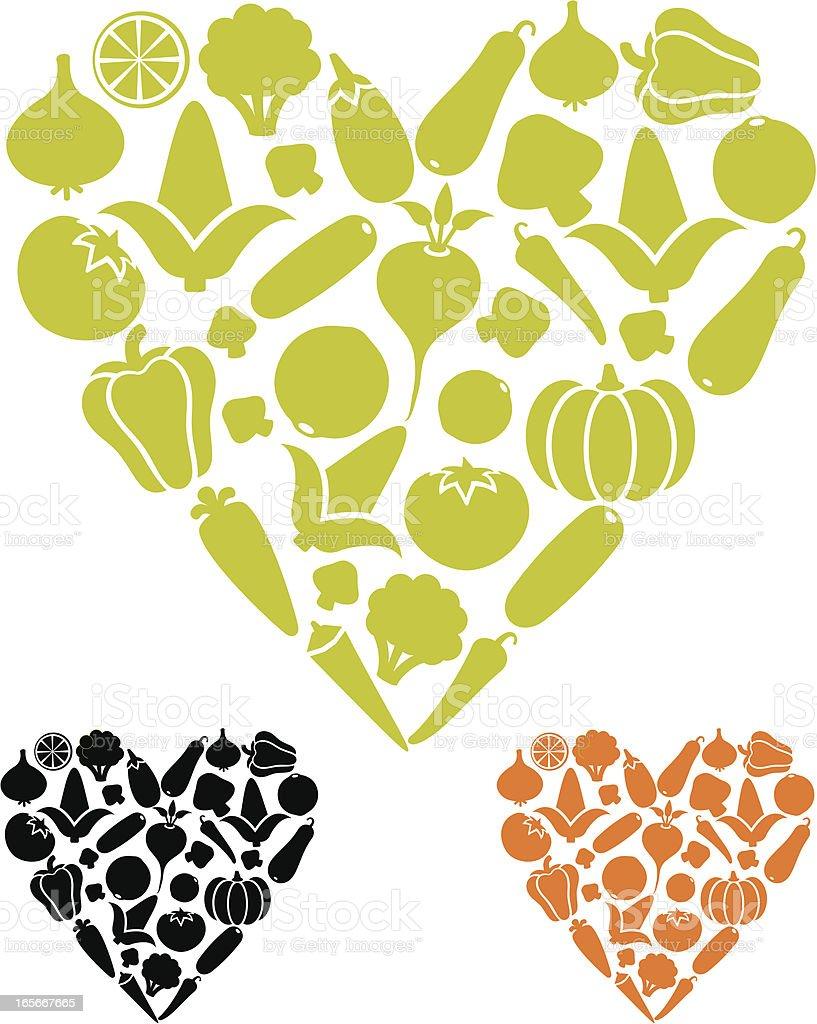 Vegetable love icons vector art illustration