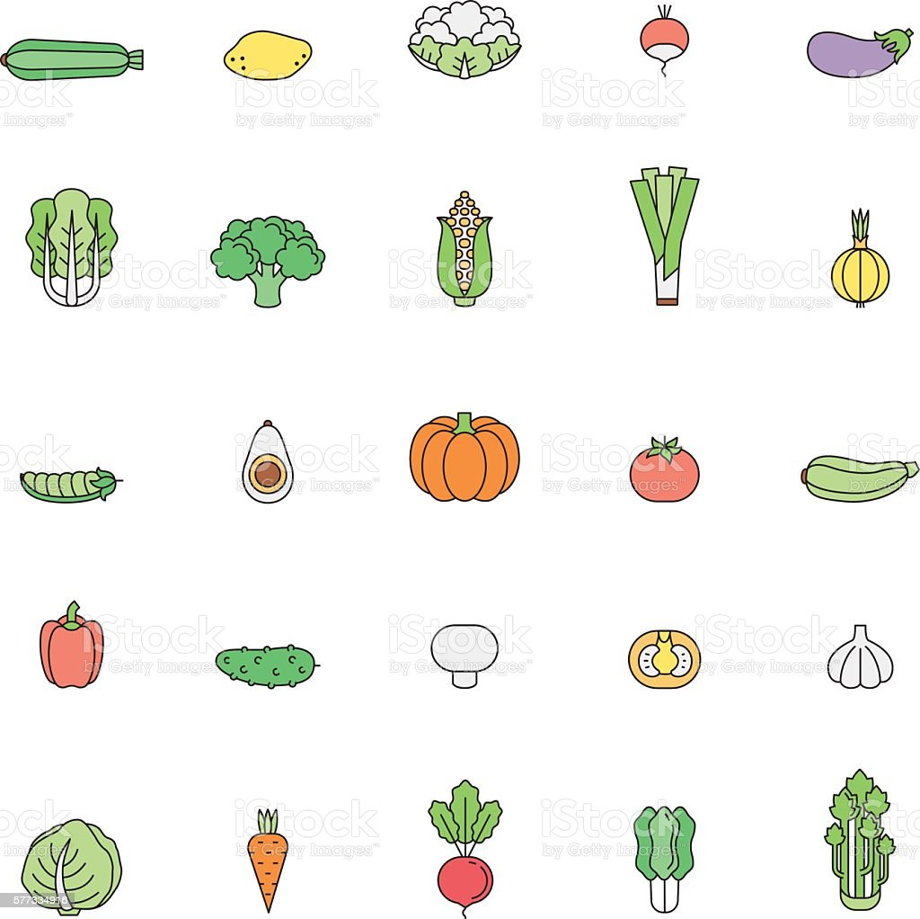 Vegetable multicolored icon set. Clean and simple outline design. vector art illustration