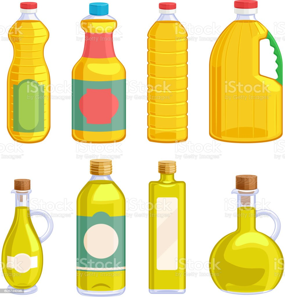 Vegetable oil assorted bottles set. vector art illustration