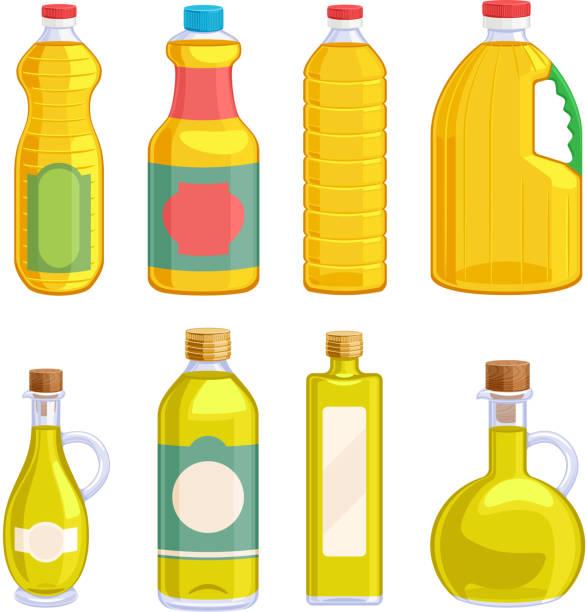vegetable oil assorted bottles set. - 식용유 stock illustrations