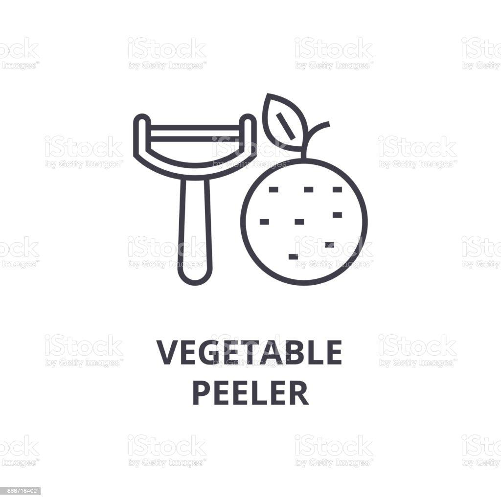 vegetable peeler line icon, outline sign, linear symbol, vector, flat illustration vector art illustration