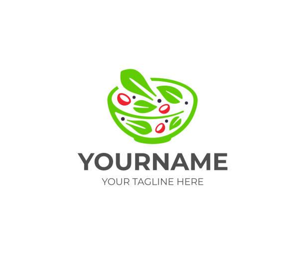 gemüsesalat design. salatbar-vektordesign. gesundes essen im schüsseldesign - salatbar stock-grafiken, -clipart, -cartoons und -symbole