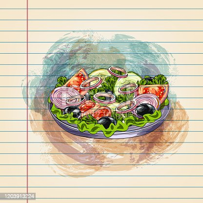 istock Vegetable Salad Drawing on Ruled Paper 1203913224