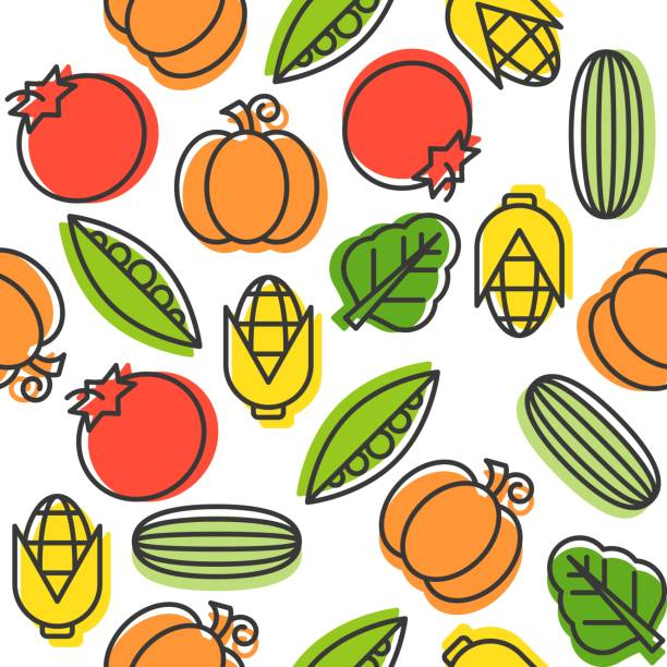 vegetable seamless pattern, cucumber, tomatoes, corn, pea and spinach, outline - like two peas in a pod stock illustrations, clip art, cartoons, & icons