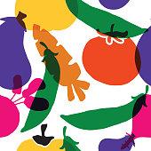 Vegetable seamless pattern. Illustration of eggplant, carrot, pumpkin, beet, tomato and peas. Vector Textile design