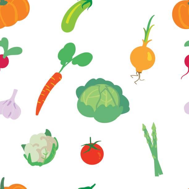 野菜シームレスパターン ベクターアートイラスト
