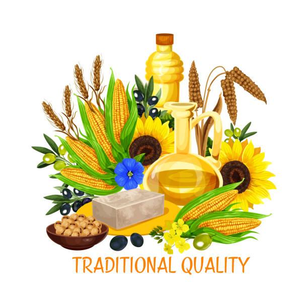 gemüsesaatgut und nuss salat speiseöle, vektor - dressing stock-grafiken, -clipart, -cartoons und -symbole