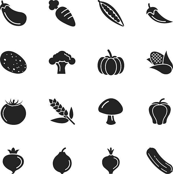 ilustrações de stock, clip art, desenhos animados e ícones de silhueta de vegetais ícones - red bell pepper isolated