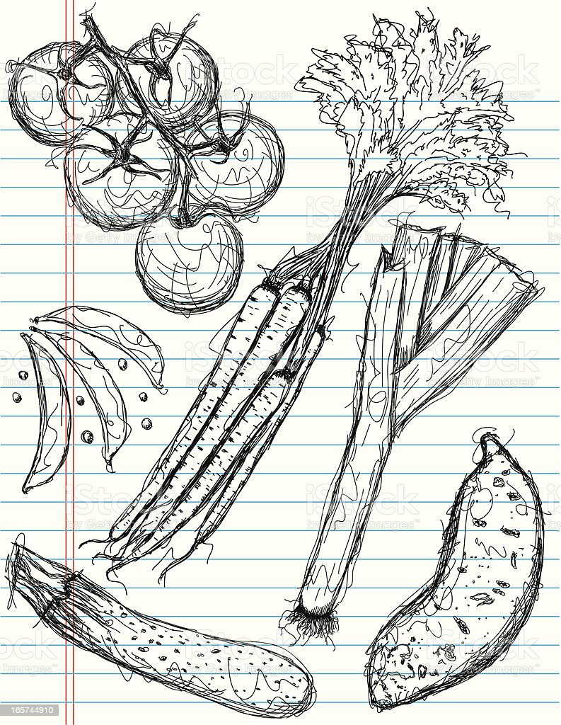 vegetable sketches royalty-free stock vector art