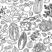 Vegetable sketchy seamless pattern. Black and white doodle vector food background