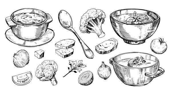 Vegetable soup. Hand drawn illustration converted to vector Vegetable soup. Hand drawn illustration converted to vector vegetable soup stock illustrations