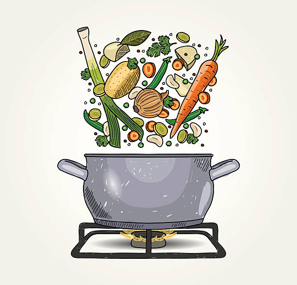 stockillustraties, clipart, cartoons en iconen met vegetable soup - groentesoep