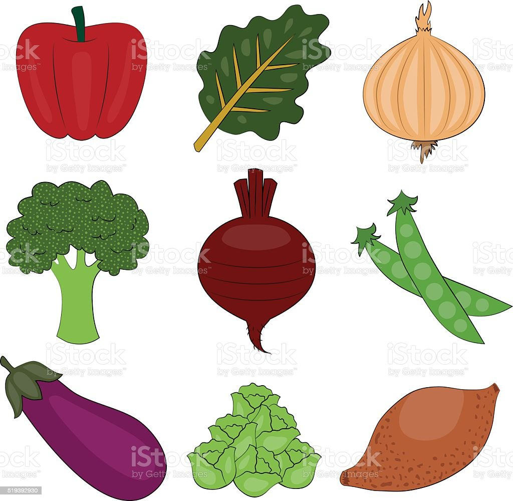Vegetable Spot Illustration Set vector art illustration