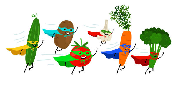Vegetable super heroes vector art illustration
