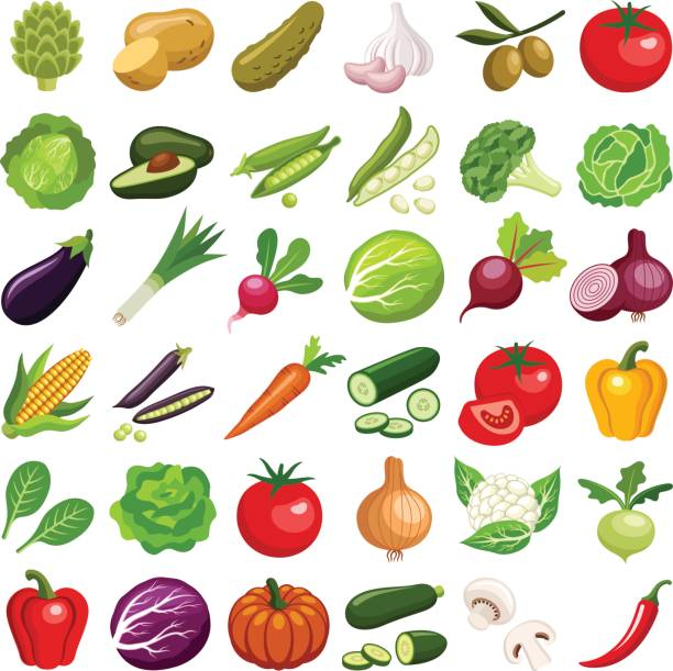 Vegetable Vegetable icon collection - vector color illustration fruit icons stock illustrations
