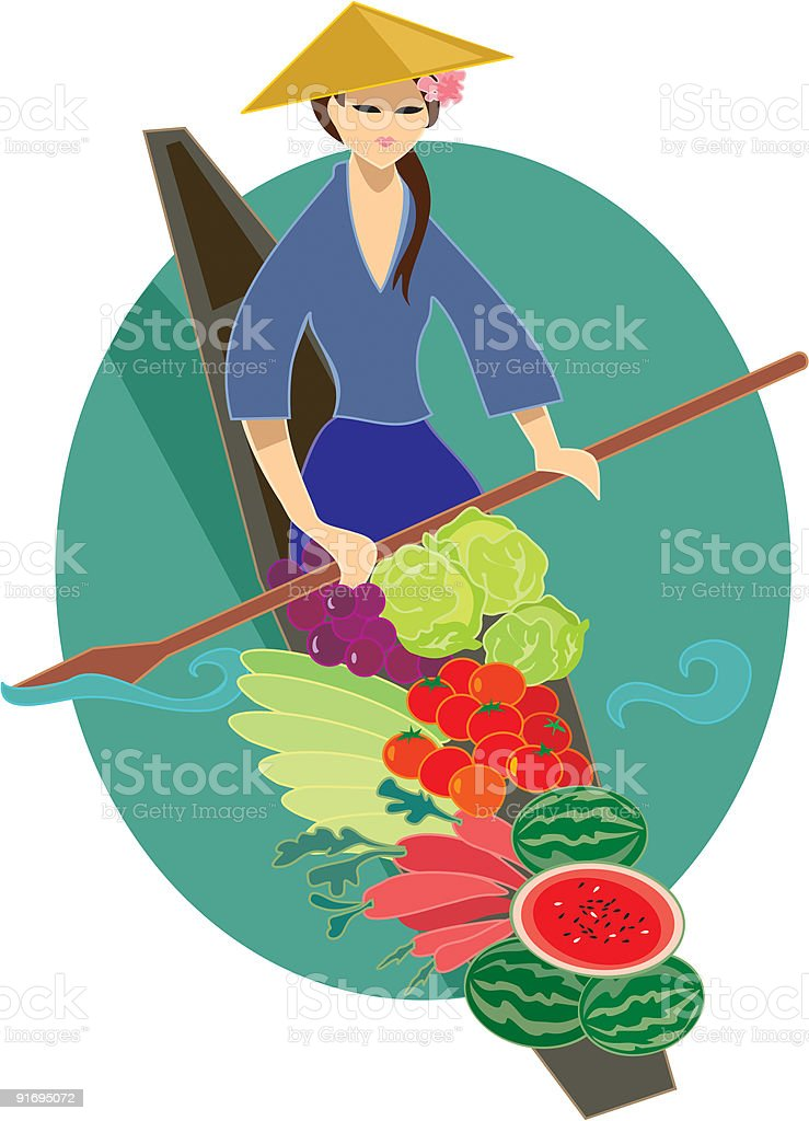 Vegetable vendor from Vietnam, 'people of the world' series vector art illustration