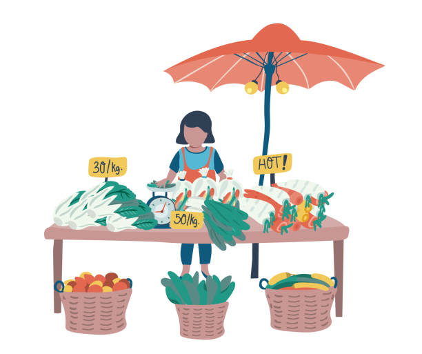 illustrazioni stock, clip art, cartoni animati e icone di tendenza di vegetable  vendor - mercato frutta donna
