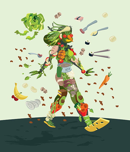 Vegetable Woman Healthy organic food concept of a smiling female silhouette made with fresh fruits an vegetables. She walks optimistically and decisively. avocado silhouettes stock illustrations