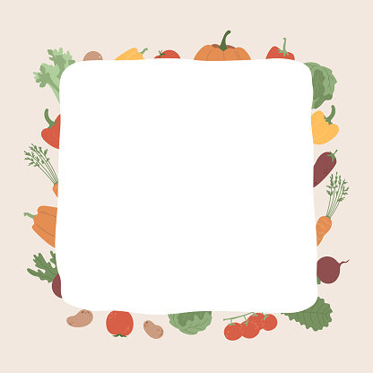 Vegetables and blank white shape. Illustration with copy space and farm food. Template for organic projects, market signboard, banner, shopping list concept.