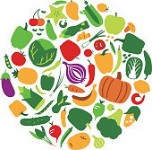 Fruit and vegetable vector circle on a white background. Modern flat illustrations. Healthy food design