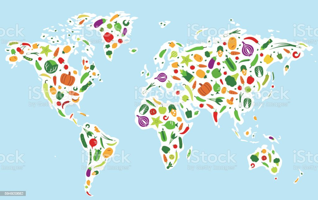 Vegetables and fruit icons in the map of the world vector art illustration