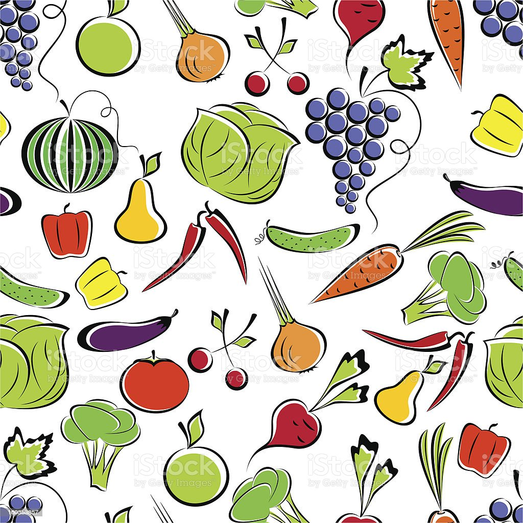 Vegetables and fruit. royalty-free stock vector art