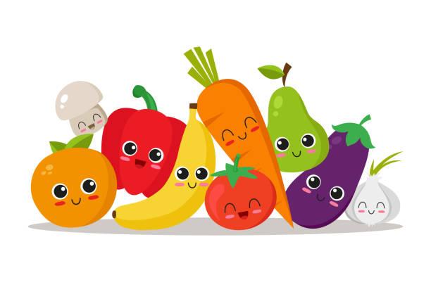 Colección de carácter de frutas y verduras - ilustración de arte vectorial
