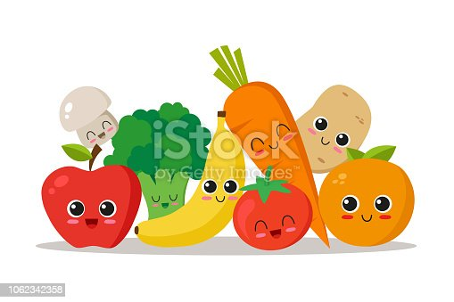Cute, funny and happy vegetables and fruits. Character set. Vector illustration