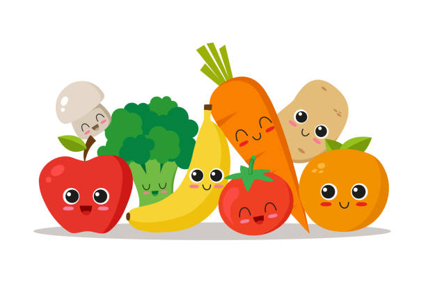 Vegetables and fruits character collection Cute, funny and happy vegetables and fruits. Character set. Vector illustration fruit stock illustrations