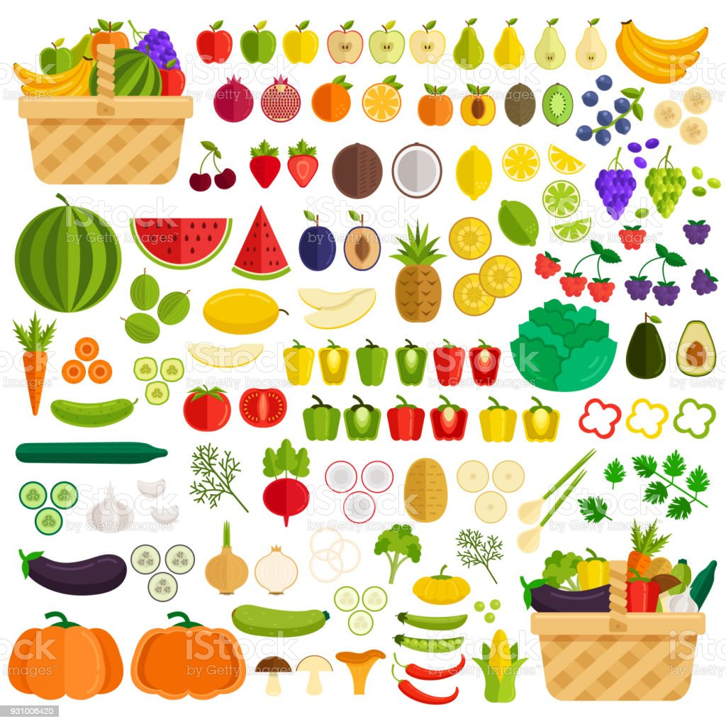 Vegetables and fruits flat icon elements isolated simple set. Ingredients in basket. Vector flat cartoon illustration vector art illustration