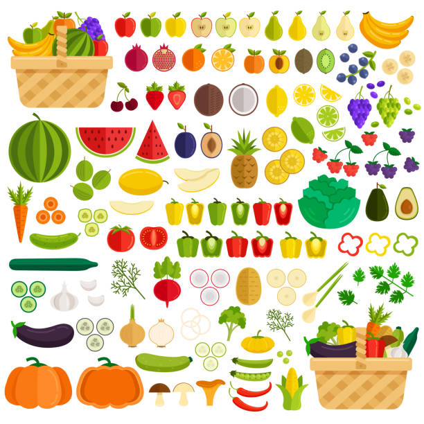 Vegetables and fruits flat icon elements isolated simple set. Ingredients in basket. Vector flat cartoon illustration Vegetables and fruits flat icon elements isolated simple set. Ingredients in basket avocado clipart stock illustrations
