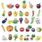 Cartoon vegetables and fruits with different emotions