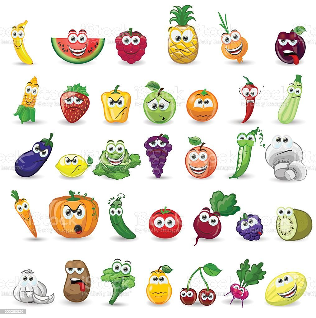 Vegetables and fruits icons vector art illustration