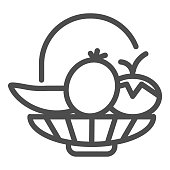 Vegetables and fruits thin line icon. Plate with vegetables and fruits illustration isolated on white. Healthy organic vegetables and fruits outline style design, designed for web and app. Eps 10