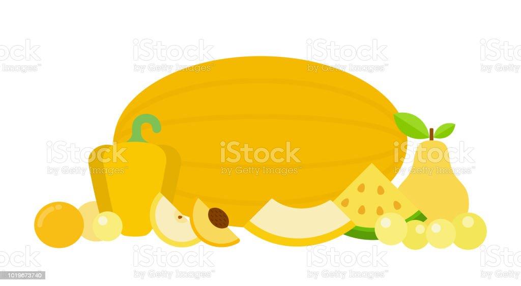 gelbes kuchendesign logos, gemüse und obst von gelber farbe flach isoliert stock vektor art und, Design ideen