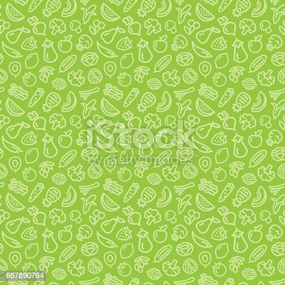 istock Vegetables and fruits seamless pattern background 657890764