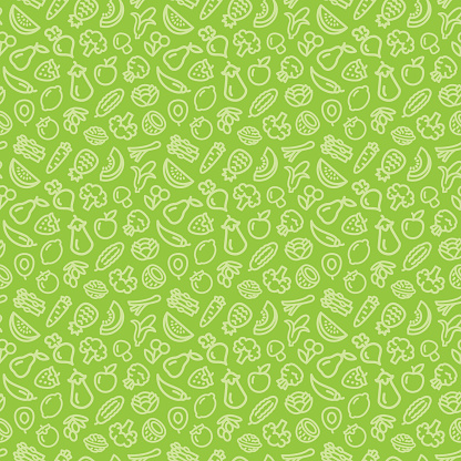 Vegetables and fruits seamless pattern background