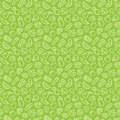 Vegetables and fruits seamless pattern background illustration outline icons on green