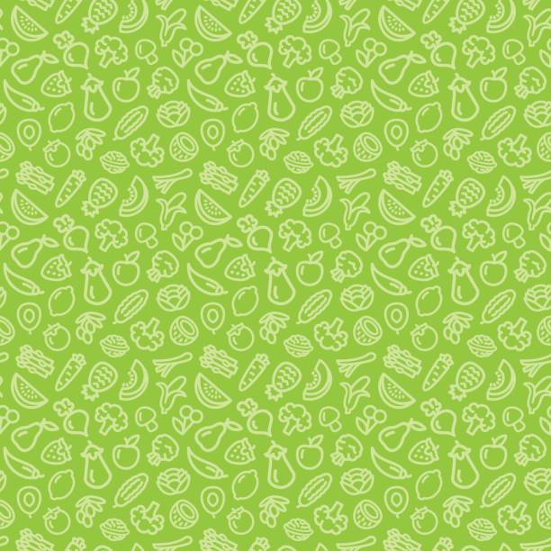Vegetables and fruits seamless pattern background Vegetables and fruits seamless pattern background illustration outline icons on green fruit backgrounds stock illustrations