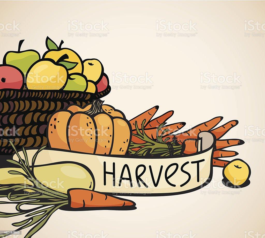 vegetables and fruits vector art illustration