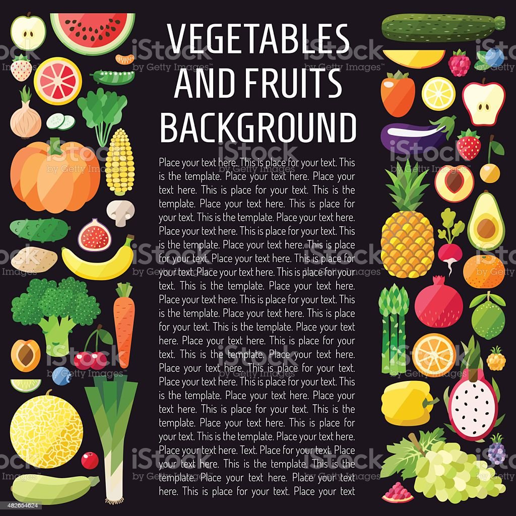 Vegetables and fruits vector vertical background. Modern flat design. vector art illustration